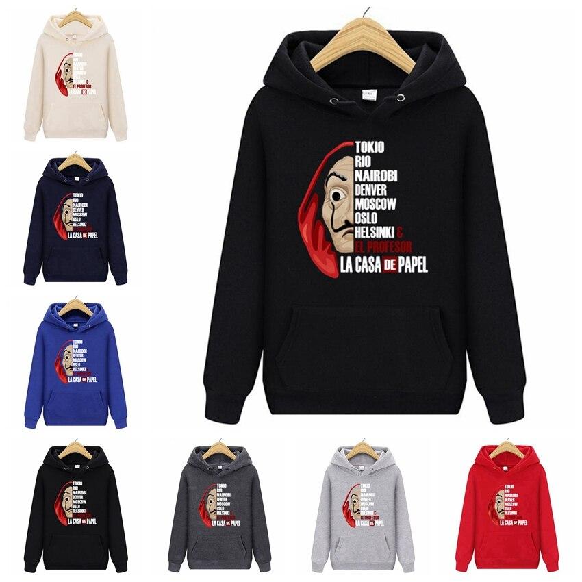 2019 Games Sweatshirts La Casa De Papel Money Heist TV Men's Hoodies Male Sweatshirts House Of Paper Men Spring Hooded JB124