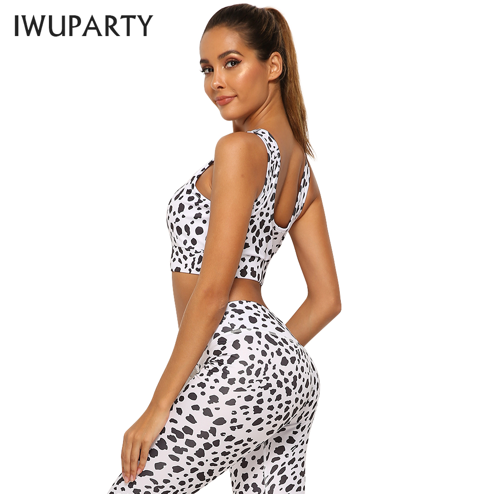 Sexy Sleeveless Speckle Printing Yoga Sets Women Gym Clothing Fitness Leggings Push Up Workout Running Sports Bra Yoga Pants
