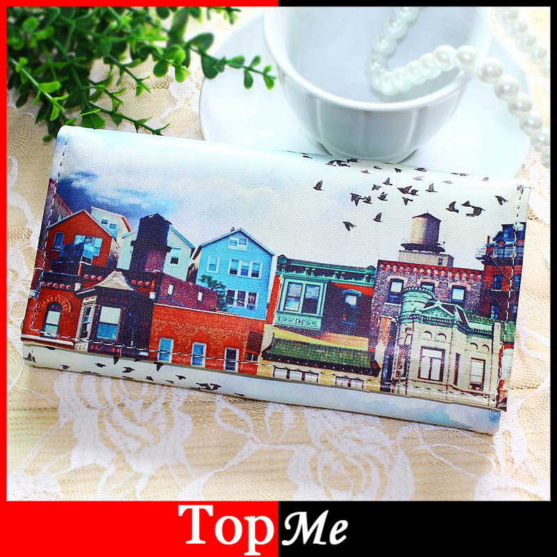 цены  Women Wallets Handbags Soft PU Leather Long Coin Purse House Pattern Moneybags Lady Purses Clutch Wallet Cards ID Holder Bags