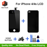 Caliente-verdad pantalla LCD para iPhone 4 4S pantalla táctil digitizador completo Asamblea + Home button + cubierta trasera cubierta + Tornillos + Herramientas AAA + +