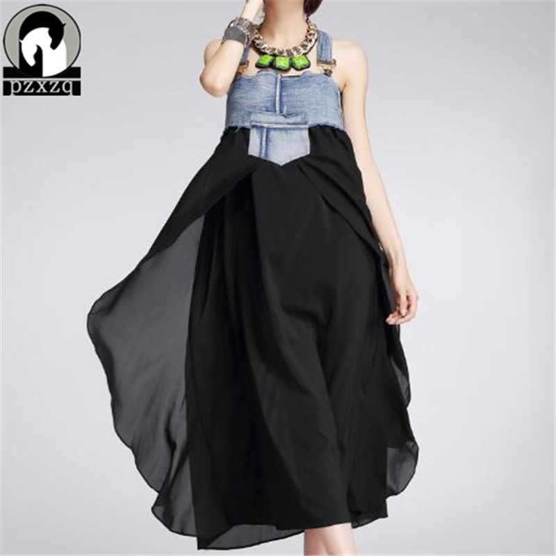 Fashion Strap Dress Unique Chiffon Splice Denim Casual Dress New Chiffon Dress Korean Vestidos Plus Size Denim Dress High Street