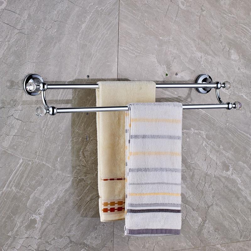 Chrome with Crystal Wall Mount Towel Bar Bathroom Double Towel Rack Brass Towel Rail