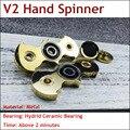 Branco/Cor do Ouro Padrão Bat Fidget Spinner Spinner Torqbar EDC Latão Mão Spinner Para O Autismo e TDAH