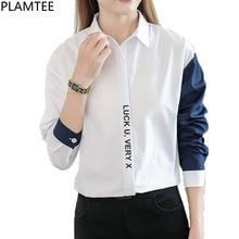 PLAMTEE Patchwork Women Tops Letter Blouse Long Sleeve Shirt Female Korean Style Blusas Mujer Print Autumn New Camisas Femininas