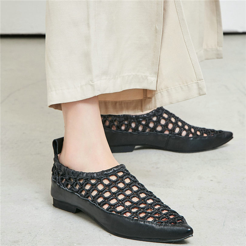 NAYIDUYUN  Chic Shoes Women Black White Cow Leather Party Flats Oxfords Cut Out Punk Loafers Casual Rome Sandals