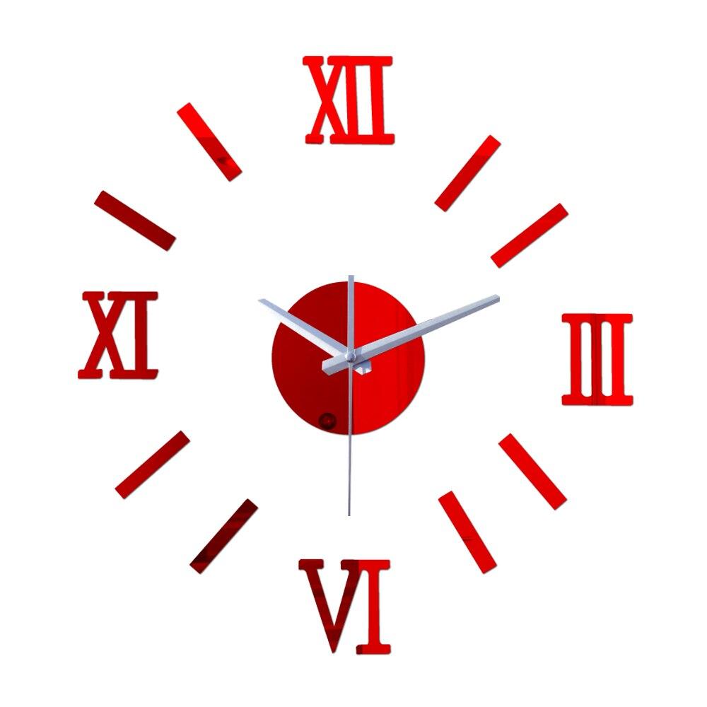 Venta Reloj De cuarzo Reloj De Pared decorativo grande habitación aguja breve 3d etiqueta espejo acrílico Reloj De Pared Horloge