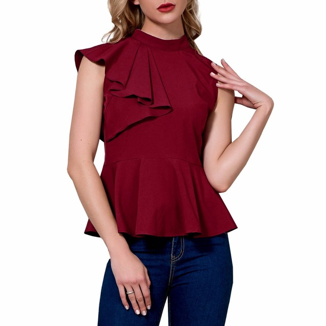 64ac959731 2018 mango ysysnew Women Ruffle Tops Blouse O-neck Collar short Shirts Lady  Summer solid night club Blouses wine red color