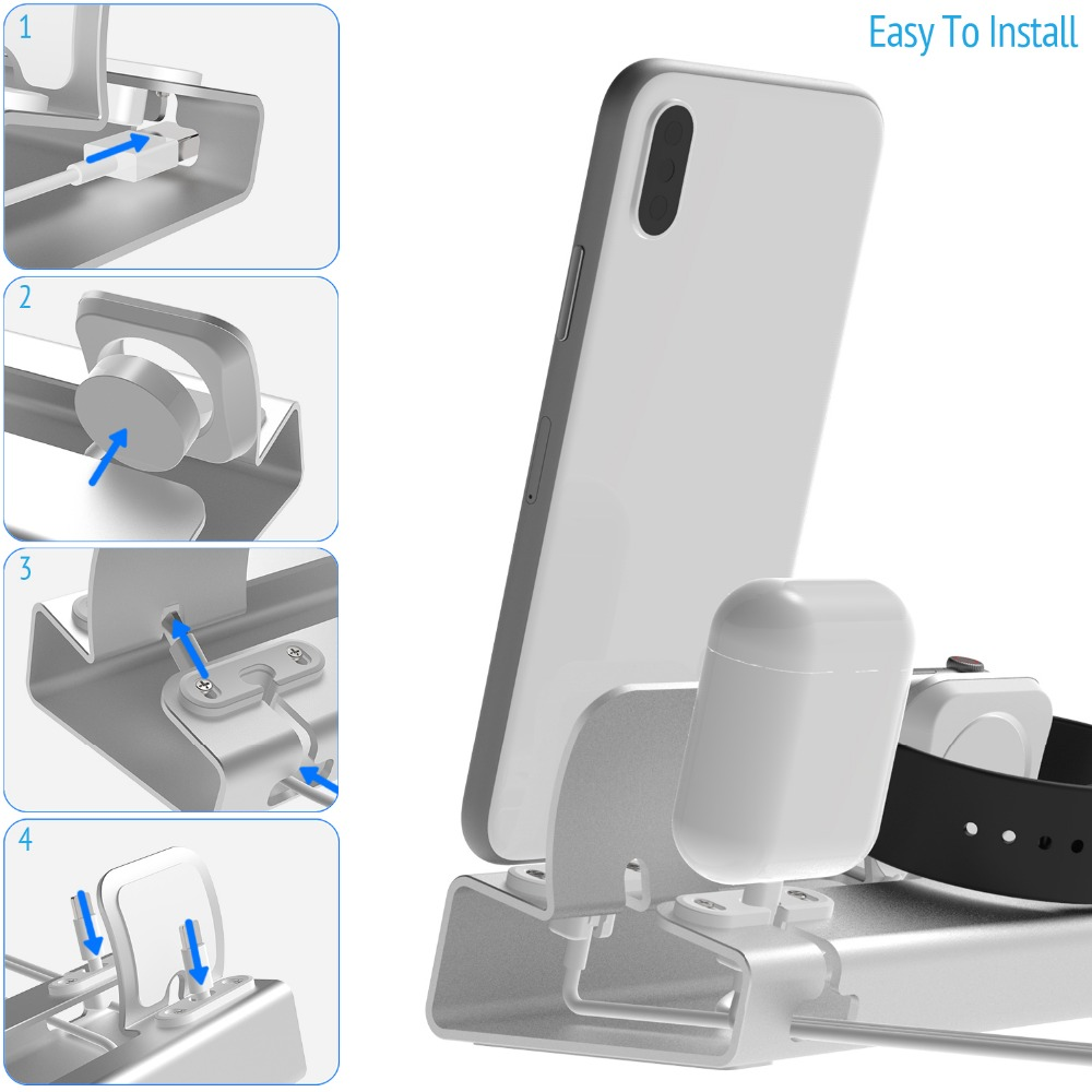 Aluminum 3in 1 Charging Dock For iPhone 12 Pro Mini 11 XR XsMax 8 7 Apple Watch Airpods Charger Holder For iWatch Stand Station