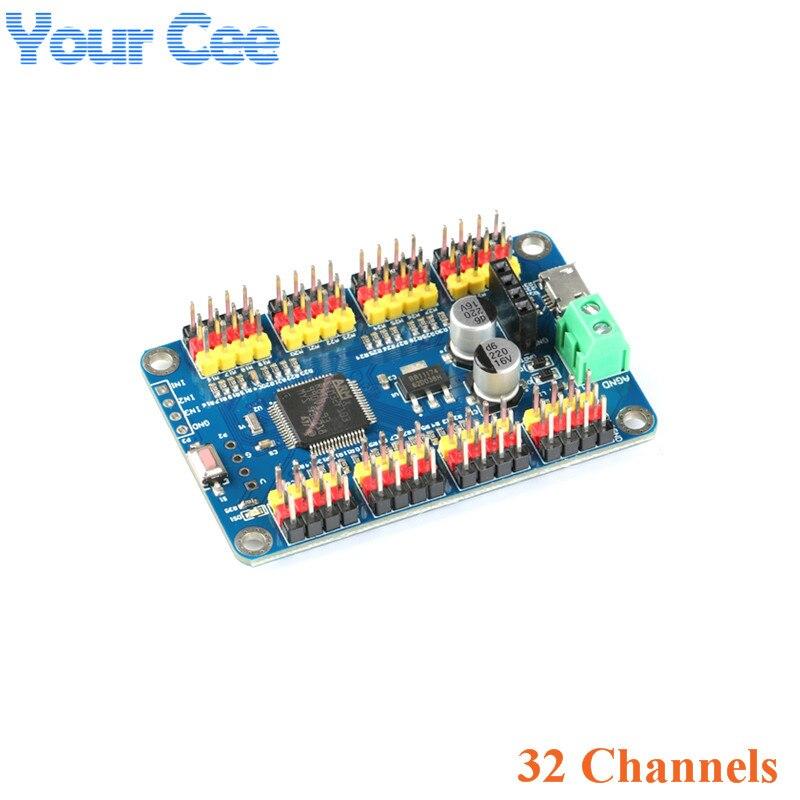 32-way Servo Motor Steering Gear Control Panel Controller Board USB Serial Port TTL Wireless Host Computer APP