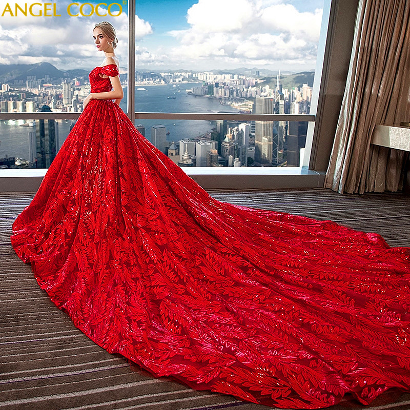 Sequin Wedding Gown: Court Red Long Tail Maternity Wedding Dress Maternity Gown