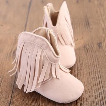 Newborn Baby Boy & Girl Kids Prewalker Solid Fringe Shoes Infant Toddler Soft Soled Anti-slip Boots  1