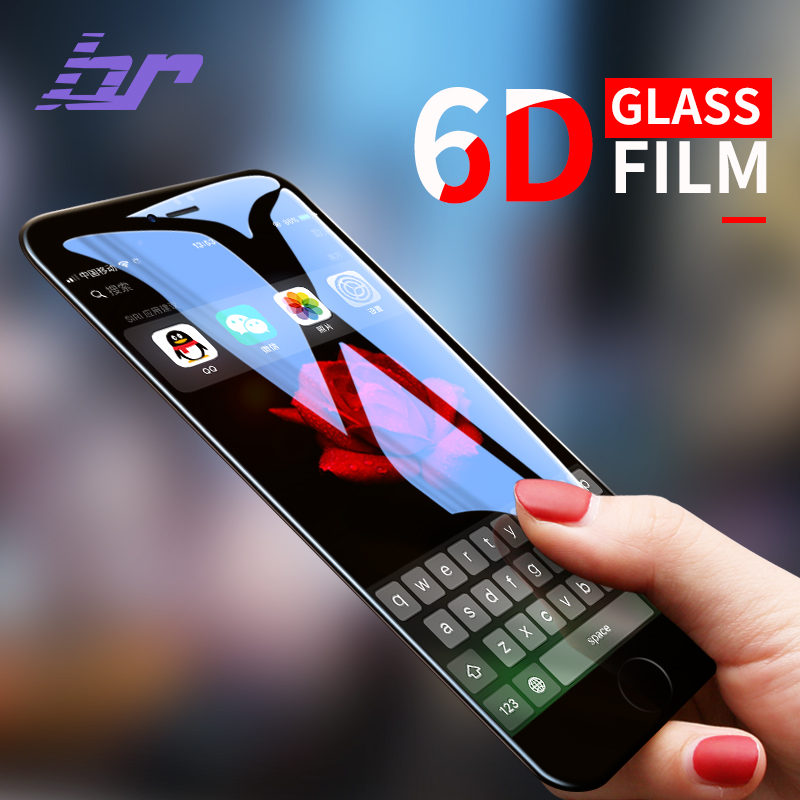 BR 6D Cold Carving Etched Curved Tempered Glass For iPhone 7 Glass For iPhone 8 Glass 7 8 Plus Screen Protector Toughened Glass