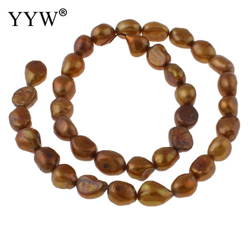 Cultured Baroque Freshwater Pearl Beads deep coffee color 8-9mm Approx 0.8mm Sold Per Approx 14.5 Inch Strand