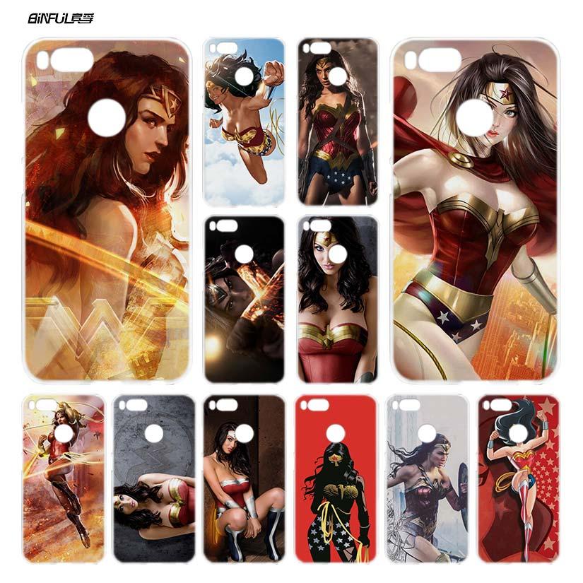 Binful Wonder Woman DC Superhero 2 прозрачная крышка чехол Coque Для Сяо Mi красный Mi A1 5x Примечание 2 3 4x4 5 4A 5A плюс