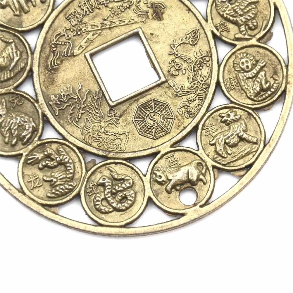 1/5PC ProtectionChinese 亜鉛合金吉祥ラッキー幸運お守り ProsperousZodiac 風水風水コインと豚フーラッキーコイン