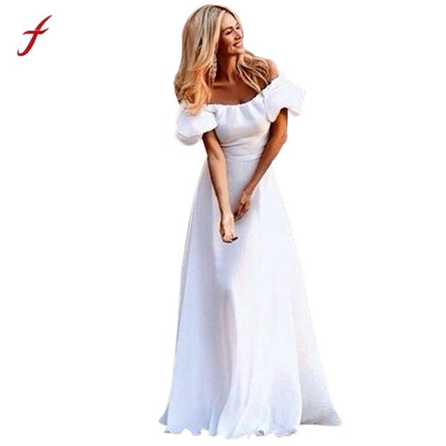 2ea8b136d50c7 Women Maxi Boho robe blanche longue Summer Beach Long Evening Party Dress  women elegant dresses vestidos
