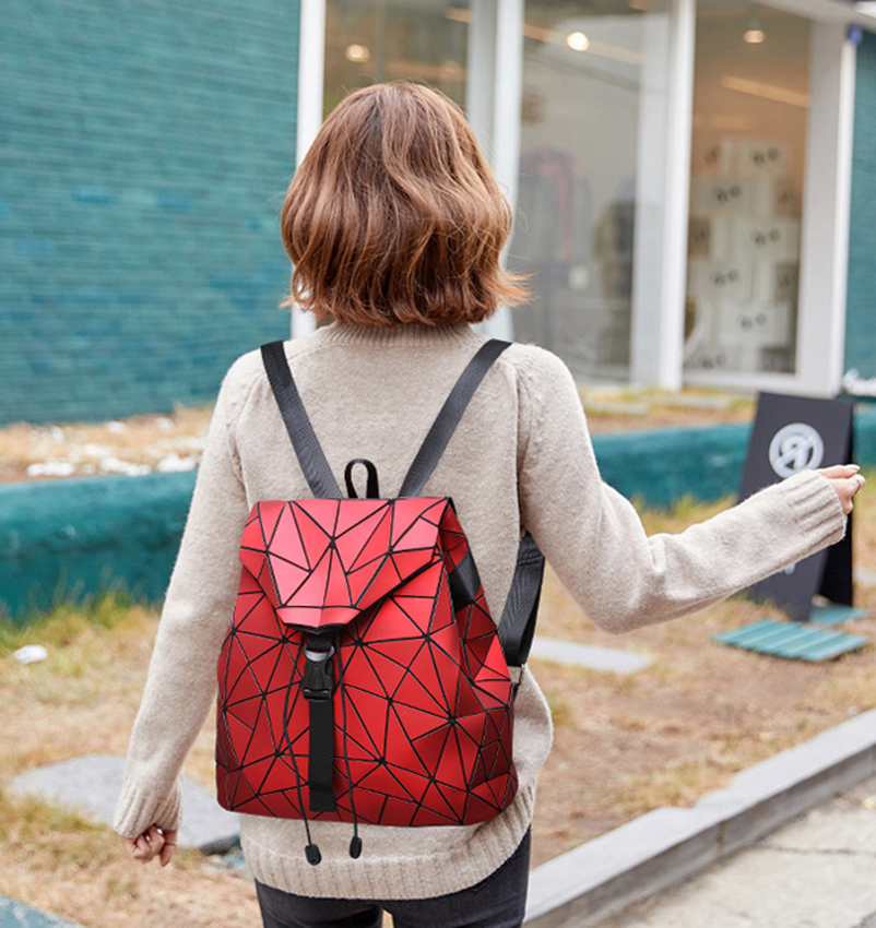 Nevenka Diamond Lattice Backpack Women Backpack Leather Creative Geometric Backpacks Drawstring Backpacks for Teenager Girl 201821