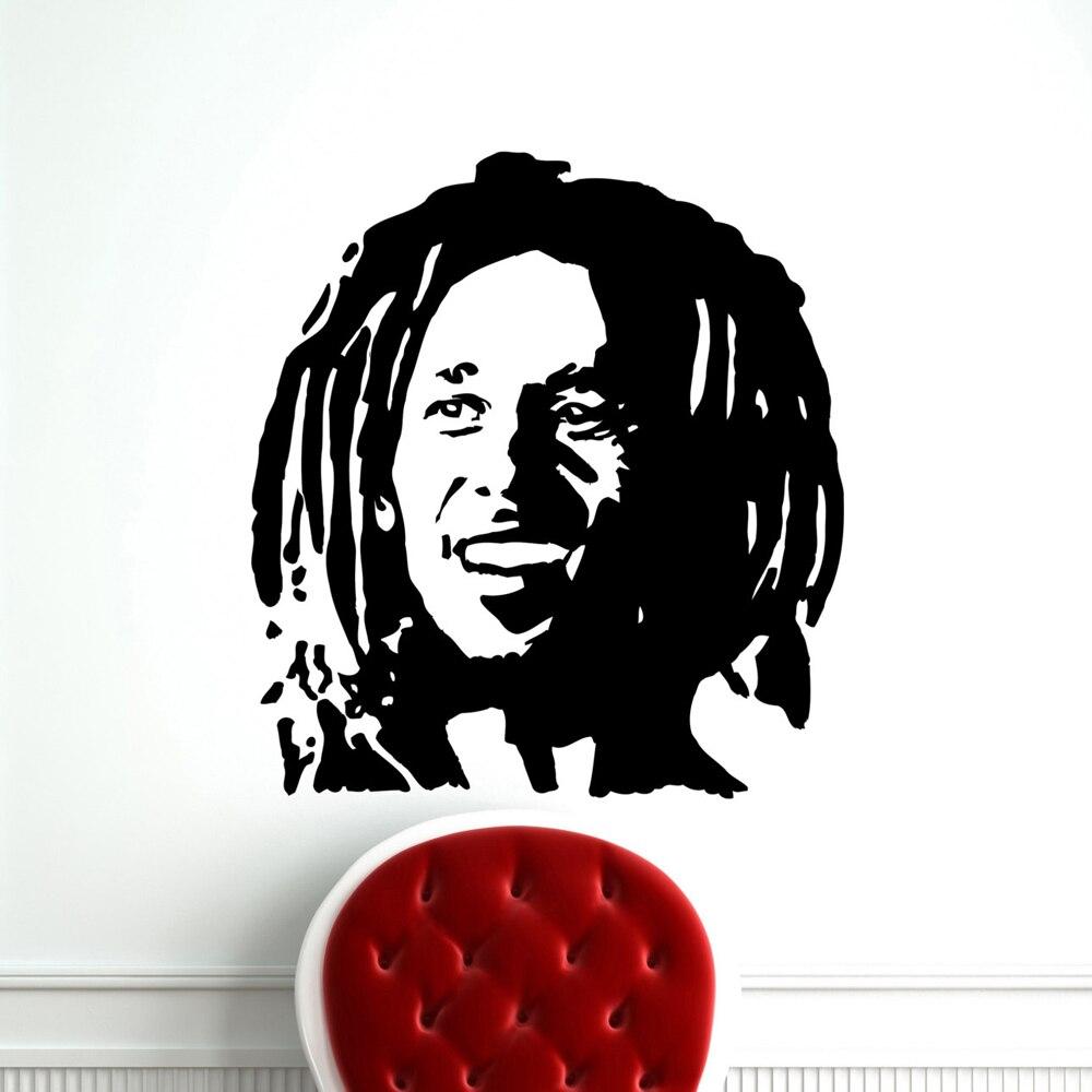 Musique stickers muraux bob marley reggae rasta jamaïque grand vinyle transfert pochoir autocollant sticker mural art garçons décoration murale a324 dans