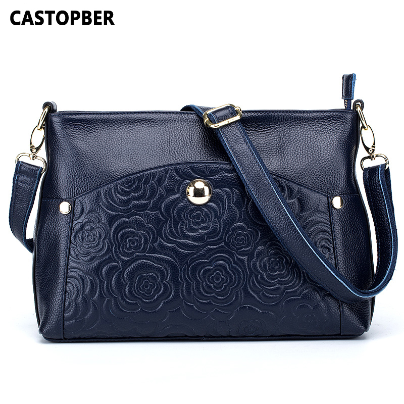 Fashion Embossed Rose Flower Genuine Leather Cowhide Women Messenger Handbags Shoulder Bags Ladies Bag Famous Brand High Quality 2016 genuine leather women s patchwork shoulder bag embossed cowhide handbags women messenger bag vintage cross body bags ws41