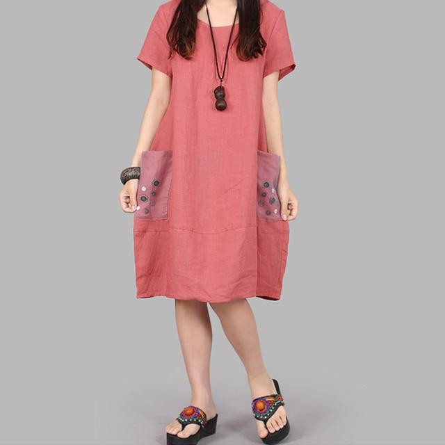 2019 Women Dress Patchwork Short Sleeve Cotton Linen Summer Loose Plus Size Womens Casual Wear New aa640