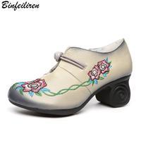 Binfeiliren Women Leather Pumps Embroidery 6 CM High Heels Handmade Women Shoes 2018 Spring Retro Pumps