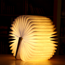 LED Night Light Folding Book Lamp USB Port Rechargeable Wooden Magnet Cover Home Table Desk Decor
