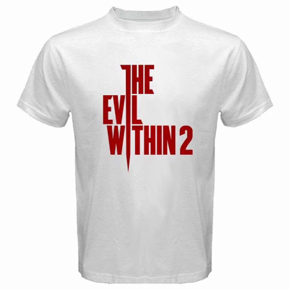 Newest 2018 New The Evil Within Survival Horror Game Logo Mens White T-Shirt Size S-3XL Printed T Shirts Mens Streetwear