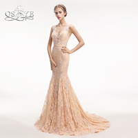 QSYYE New Champagne Long Prom Dresses 2018 Lace Beaded Elegant See Through Back Formal Evening Dress