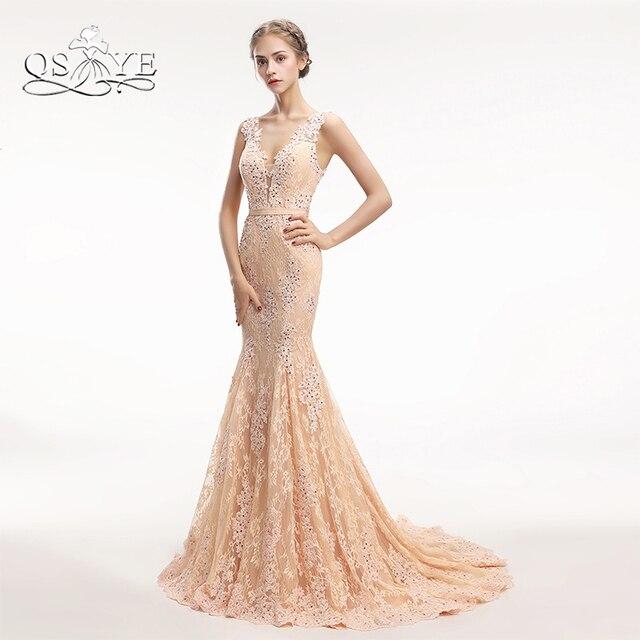 5d47205d4 Qsyye nuevo Champagne largo Vestidos de baile 2018 Encaje moldeado elegante opacidad  volver vestido de noche