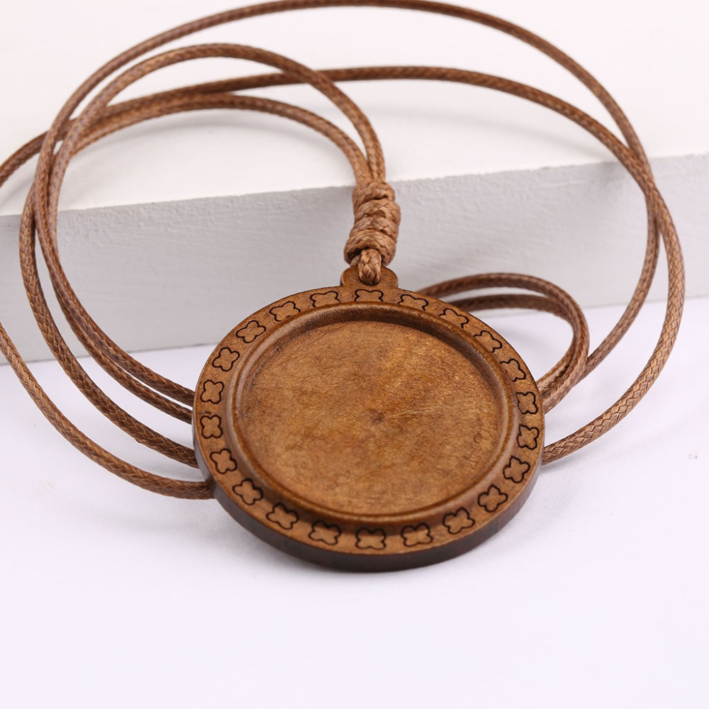 5pcs wood cabochon settings 30mm dia blank wooden pendant base with leather cord diy jewel
