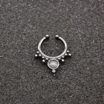Crystal Black Fake septum Piercing nose ring Hoop For Women Body Jewelry 5