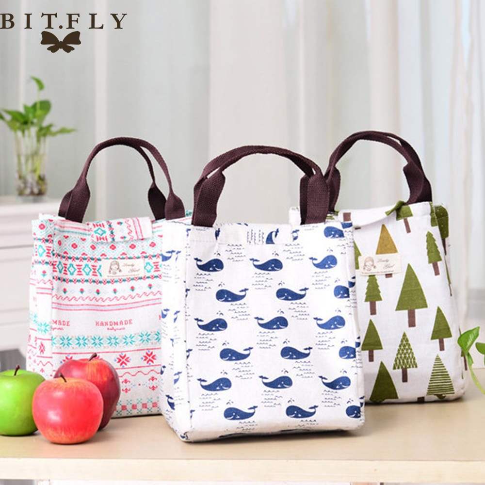 Food To Carr When Travelling: Waterproof Canvas Lunch Box Portable Insulated Thermal