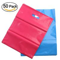 50pcs Plastic Merchandise Bags Retail Shopping Bags With Handle Gift Bags Party Wedding Favour Paper Gift
