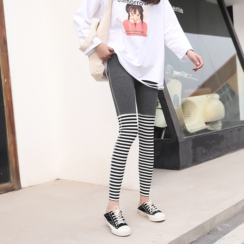 Women Leggings Casual Cotton Bf Patchwork Striped Fitness High Waist Leggings Women Pants Stretch Female Fashion Leggins Mujer