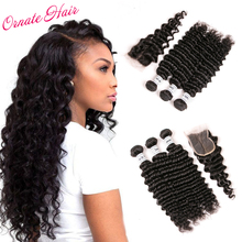 Ornate 3 Bundles Brazilian Hair Weave Bundles With Closure Deep Wave Bundles Med Closure Free Part Remy Curly Hair Extension