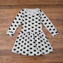 Girl dress cotton long sleeve black stamp elastic pleated Zou comfortable dress stitching girl dress Cartoon cat dress