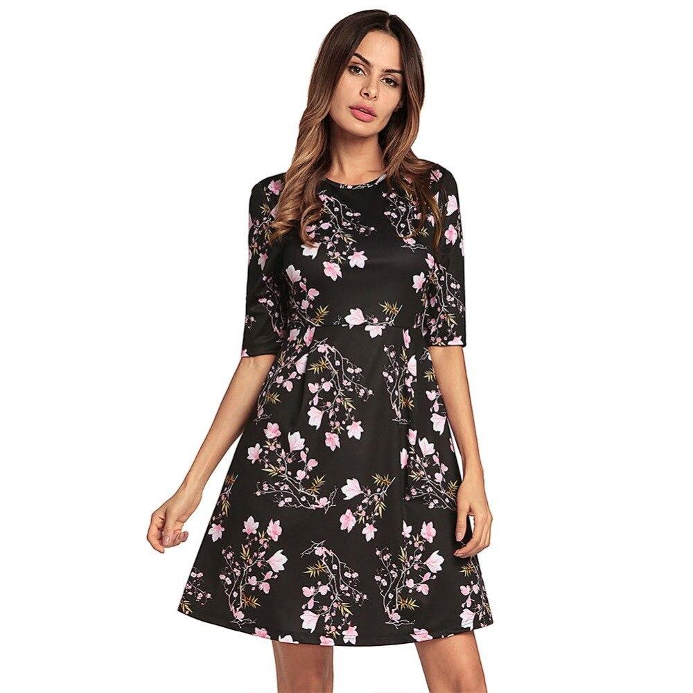 Middle Sleeve High Waist A-Line Mini Print Dress Casual Ladies High Quality Smooth Cloth Dress European Style
