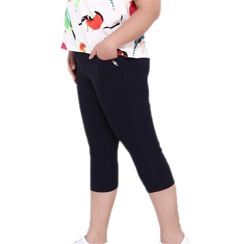 2018 Plus Size Women Summer High Stretch Waist   Pants   Female   Capris     Pants   Candy Color Mid Calf Length   Pants   Female 6XL O56