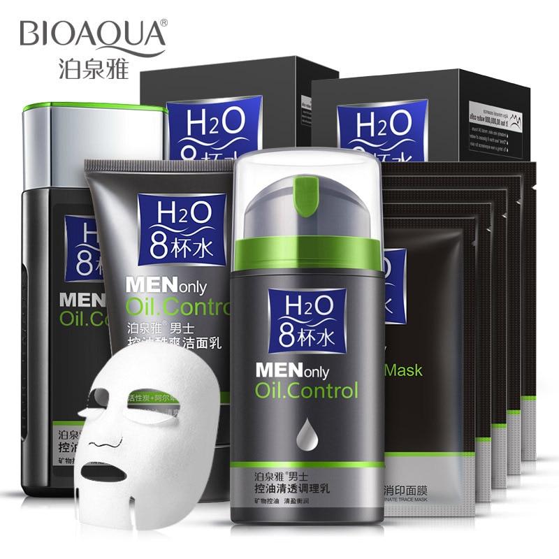 BIOAQUA hommes crème visage sérum crème blanchissante traitement de l'acné hydratant soins du visage énergie réparation huile contrôle 4 pièces ensemble de soins de la peau