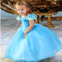 NEW Girl Dress 4 13T Butterfly Pearl Cinderella Dress Movie Cosplay Girls Party Dress 2015 Brand