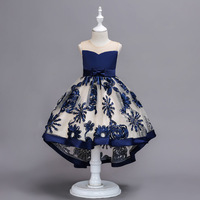 2019 New Girls Organza Trailing Dress Embroidered Dress Birthday Princess Wedding Party Dresses Kids Frocks For 4 6 8 10 Years