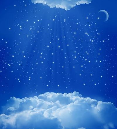 สีฟ้าดวงจันทร์ดาวและเมฆการถ่ายภาพฉากหลัง ภาพพื้นหลังทำจาก
