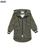 High End Elegant Long Pattern Children Winter Outwear Autumn Clothing Army Green Trench Coat For Teenage