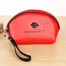 Women PU Leather Cosmetic bag for Makeup Small Portable Shell Shape Letter Printing Travel Storage Bag Toiletry Pouch