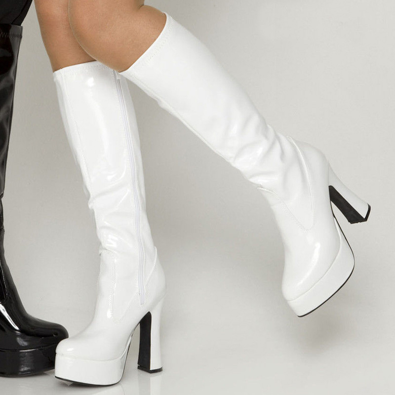 Fashion Knee High Boots Women Thick Heels Plus Size 45 Heels Platform Booties Funny Adult Shoes Women Cosplay Shoe Boots custom made alice madness returns alice cosplay shoes boots cosplay accessories for adult women