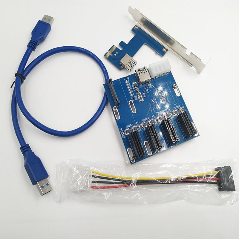 New PCIe 1 to 4 PCI Express 1X slots Riser Card Mini ITX to external 4 PCI-e Slot ad QJY99