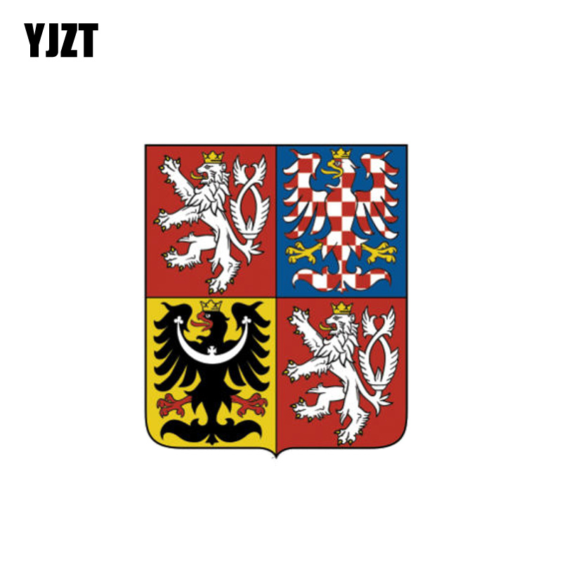 YJZT 8.4CM*10CM Funny Czech Republic Flag Coat Of Arms Car Sticker PVC Decal  6-1088