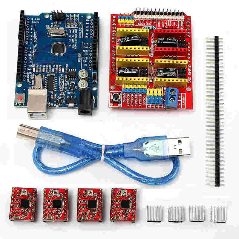 CNC Shield Expansion Board for Arduino 3D Printer kit + 4 x A4988 Stepper Motor Driver with Heat Sink + micro usb for UNO R3