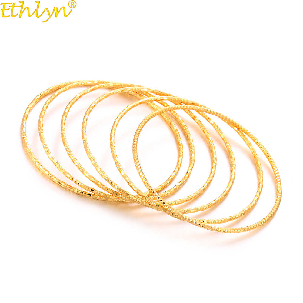 Ethlyn Durable Color 6pcs/lot Fix Size Bangle for Ladies Gold Color Charm Bracelet Birthday Wedding Jewelry Party gift B170