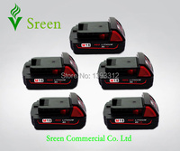 5 X New 1500mAh 18V Rechargeable Power Tool Lithium Ion Battery Replacement For Milwaukee M18 XC